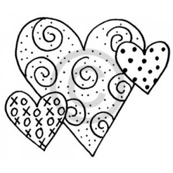 Swirl Hearts Cling Stamp