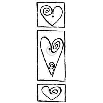 Swirl Hearts Frame Cling Stamp