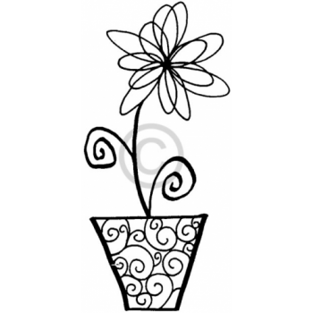 Swirl Potted Flower Cling Stamp