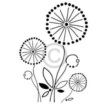 Tangerine Flowers Cling Stamp