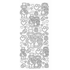 Wedding Bears Outline Stickers