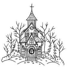 Winter Chapel Cling Stamp