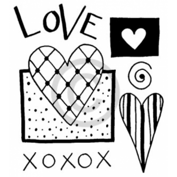 XO Heart Cling Stamp