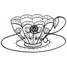 Tulip Teacup  Cling Stamp 1149