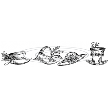 Hats Border Cling Stamp 1246