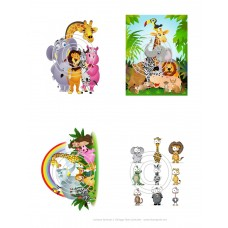 Cartoon Animals 1 Vintage Hue Acetate