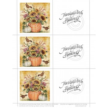 Fall Feathered Friends Blessings Shaker Sheet, Vintage Hues Art Acetate